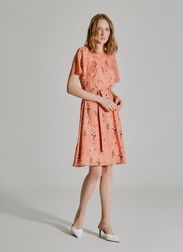 People By Fabrika Bağlama Detaylı Elbise Somon